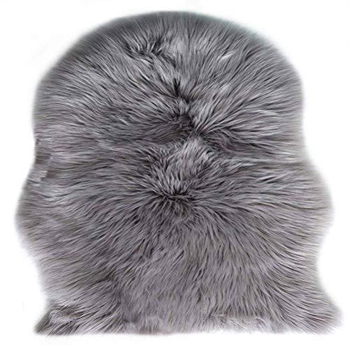 Lammfell Schaffell Teppich, Fell Schaffell Lammfell Imitat Kunstfell Dekofell , Langes Haar Nachahmung Wolle Bettvorleger Sofa Matte 75 x 120 cm -