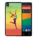 WoowCase Bq Aquaris E5s - E5 4G Hülle, Handyhülle Silikon für [ Bq Aquaris E5s - E5 4G ] Tanzende Frau - multifarbigen Punkten Handytasche Handy Cover Case Schutzhülle Flexible TPU - Schwarz