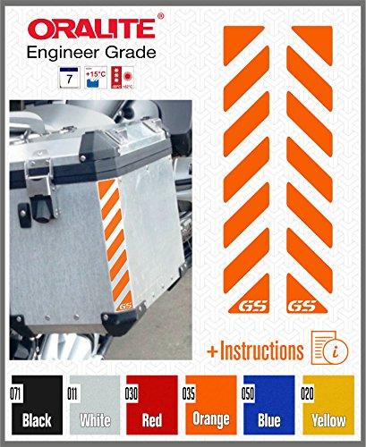2pcs RIFRANGENTI ADESIVI con GS compatibile con VALIGIE LATERALI Touratech Motorcycle Aluminium Panniers BMW MOTORRAD (Orange)