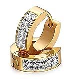 Eleganti orecchini a cerchio, fatti a mano con strass, da donna o uomo, in stile punk rock, in argento (d'oro)