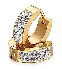 Idea Regalo - Eleganti orecchini a cerchio, fatti a mano con strass, da donna o uomo, in stile punk rock, in argento (d'oro)