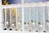 Kamaca Bistrogardine Kindergardine Einhorn individuell in der Breite kürzbar Halbtransparent Breite 135 cm/Höhe 50 cm Scheibengardine (Einhorn mit Regenbogen - MÄHNE)