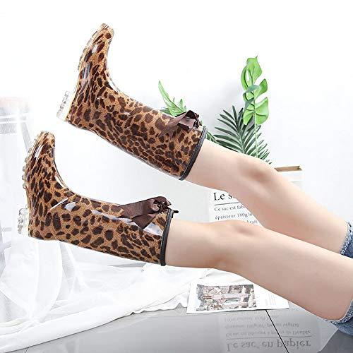 Botas De Agua,Lluvias Largas Botas Antideslizantes Leopardo Hembra Lluvia Botas Moda Zapatos Zapatos De Goma De Agua Spot Correa Casual Botas De Lluvia Amarillo Pvc Clásica Mujer Botas Wellington,I
