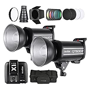 2 x Godox 600W Strobe Flash + Wireless Trigger Transmitter + Softbox + Barn Door Kit + Conical Snoot + Diffuser Plate + Standard Lampshade Honeycomb + Carrying Bag for Nikon DSLR Cameras