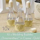 """'10Set Wedding Bubbles """"Ornament Corazón en crema de oro–pompas de jabón para bodas como regalo para invitados para bodas invitados"""