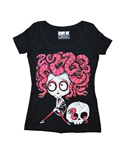Akumu Ink Damen Premium Tattoo T-Shirt - Medusa Love (Schwarz) (S-L) (M) (Cap Deluxe Skull)