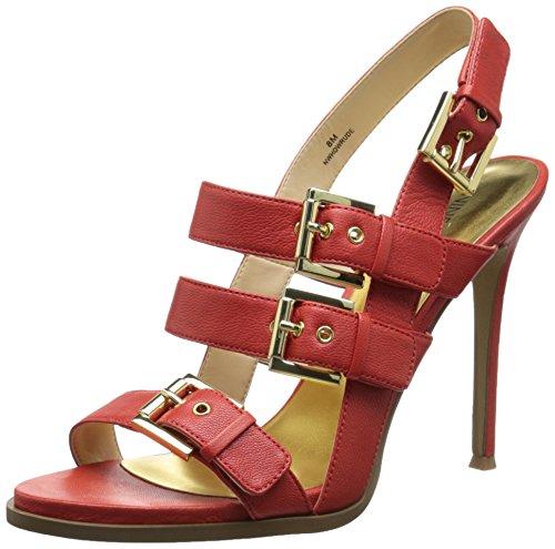 Nove in pelle occidentale Howrude tacco del sandalo Red
