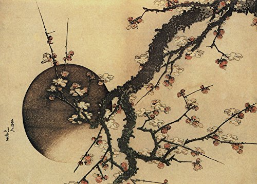 HOKUSAI ciruelo y la luna. Japón 18–19th Century 250gsm A3brillante tarjeta de arte reproducción de póster