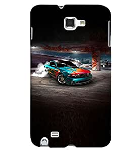 Fuson Premium Car On Track Printed Hard Plastic Back Case Cover for Samsung Galaxy Note 1 i9220 N7000