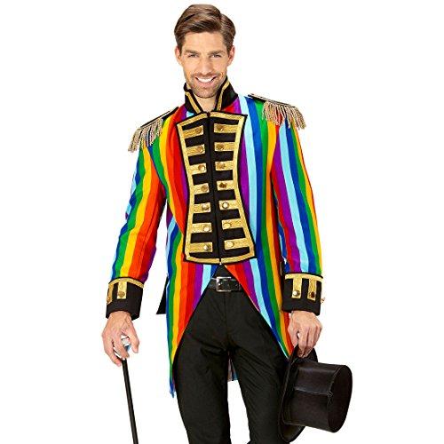 Amakando Zirkusdirektor Kostüm - M (50) - Zirkus Herrenkostüm Eleganter Gehrock Manege Bunter Herrenfrack Venezianischer Mantel Regenbogen Frack (Zirkusdirektor Mantel Kostüm)