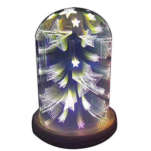 HKFV 3D magische lichter glas haube sterne meteor helle freunde dekoration kreative led-leuchten schlafzimmer atmosphäre lichter USB Lade LED bunte 3D magische Sterne Light House Party Decor (C) -