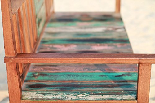 Outflexx 3-Sitzer Gartenbank, Fishboat-Holz, braun, 160 x 60 x 90 cm - 5