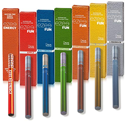 Ezee Fun Cigarrillo Electrónico Desechable 7 Sabores Diferentes E-Cigarrillo Hasta 400 Caladas Vape Con Sin Nicotina y Sin Tabaco Paquete De 7