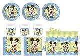 Baby Mickey Mouse Party Set (24 Becher, 24 Teller, 40 Servietten, 1 Tischdecke)