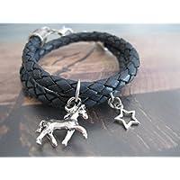 Handmade Kinder/ Mädchen Echt Leder Wickel Armband Grau/ Blau, geflochten, Pferd/ Stern- Umfang 13,5 cm- 14 cm