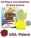 Duramitt Fellpflege, Pflege- Waschhandschuh für Katzen, Hunde, Kleintiere aus Latex mit Massage Noppen US Patent
