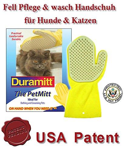 katzeninfo24.de Duramitt Fellpflege, Pflege- Waschhandschuh für Katzen, Hunde, Kleintiere aus Latex mit Massage Noppen US Patent
