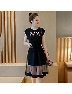 La versión coreana de la elegante falda sello pegado de gasa delgada de vídeo grandes faldas,XXXXXL, negro