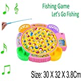 Fishing Game - Kids Colorful Electronic Musical Rotating Toy with 45 Fish 4 Fishing Rods Parent-Child Funny Creativity Logical Thinking Ability Game - by KARP (Yellow)
