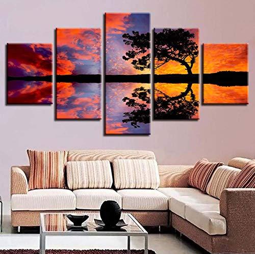 l'arredamento tela dipinto 5 pezzi albero hd impronte mountain wall art tramonto modulare foto capezzale sfondo opera manifesto