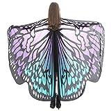 WOZOW Damen Schmetterling Schmetterlingsflügel Kostüm Faschingkostüme Schal Tuch Poncho Umhang für Party Cosplay Karneval Fasching (Lila)