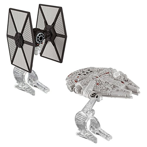 hotwheels 2014 release star wars first order tie fighter VS millennium falcon 2 piece set model by Hot Wheels
