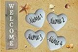Fußmatte Strandherzen mit Wunschnamen waschbar Geschenk Familie paare