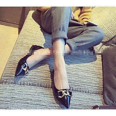 Confortevole ed elegante piatto scarpe donna tacchi altri Esterno in similpelle nero grigio verde Borgogna Brown
