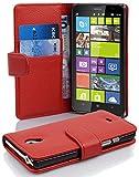 Cadorabo Nokia Lumia 1320 Custodia di Libro di Finta-Pelle STRUTTURA in ROSSO CREMISI – con Vani di Carte e Chiusura Magnetica – Portafoglio Cover Case Wallet Book Etui Protezione