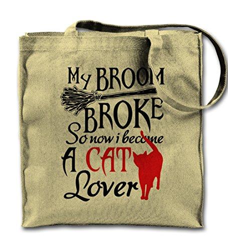 My Broom Broke So Now I Become A Cat Lover Natural Canvas Tote Bag, Cloth Shopping Shoulder Bag - Cat Broom