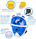 Snorkel Mask, Distinct Trader, 180° Full Face, GoPro Compatible, Panoramic View, Easy Breathe, With Anti-Fog and Anti- Leak Technology, For Adults and Kids