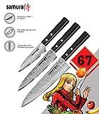 Samura Chef - Juego de 3 cuchillos esenciales de acero japonés y plástico ABS de Damasco Dureza 61 HRC...