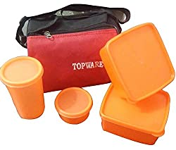 Topware Plastic 4 Orange Container Lunch Box with Red & Black Insulated Carry Bag
