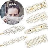 Artificial Pearl Hairpins Elegant Hair Barrettes Bridal Metal Hair Clip for Weddings Hair Accessories (6 Pieces)