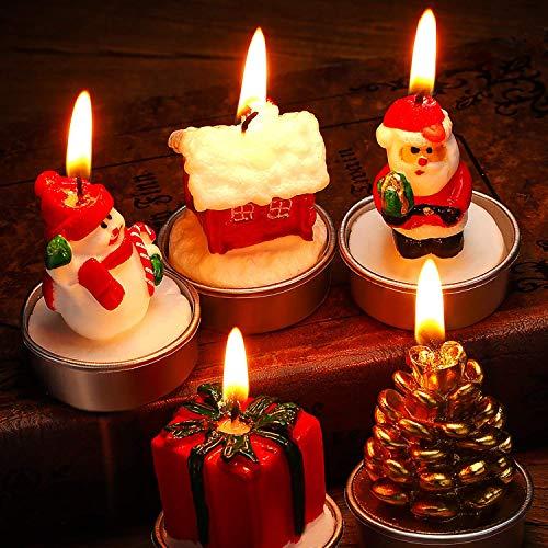 SONGET 15 Stück Weihnachtskerzen Santa Snowman Pine Cone Geschenk Haus Kerzen für Home Party Halloween Weihnachten Hochzeit Urlaub Feier Dekoration