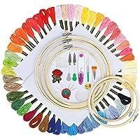 Kit de inicio de bordado Koooper, Punto de cruz, 5 piezas de aro de bordado de bambú, 50 piezas de hilos, 30 piezas 3 tamaños de agujas de bordado, 12 piezas bobinas de seda ect.
