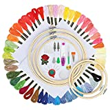 Koooper Stickerei Starter Kit Cross Stitch Set mit 50 Farben Stickgarn, 5 Embroidery Bambus Hoops(15-26 cm), 30 Nadeln Set DIY Kreuzstich Craft Tool Kit
