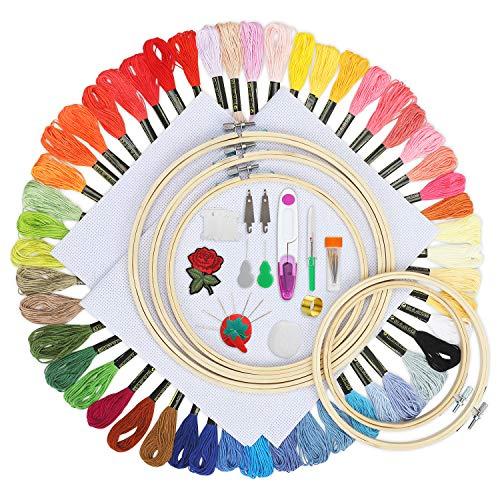 Koooper Stickerei Starter Kit Cross Stitch Set mit 50 Farben Stickgarn, 5 Embroidery Bambus Hoops(15-26 cm), 30 Nadeln Set DIY Kreuzstich Craft Tool Kit -