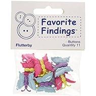 """Favorite Findings pulsante """"Farfalle"""" bottoni automatici, plastica, colore: multicolore, confezione da 12, 15 e 20 mm"""