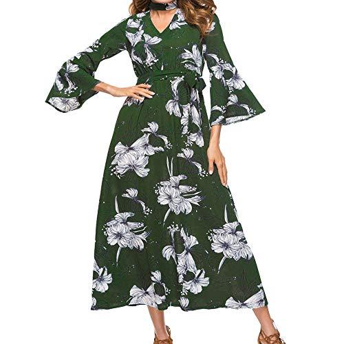 Splrit-MAN Plus Size Elegante Damen Frauen Casual Glockenärmel Boho Blumendruck Casual Täglichen Party Strand Langes Kleid MaxiKleid Schulterfrei Strandkleid