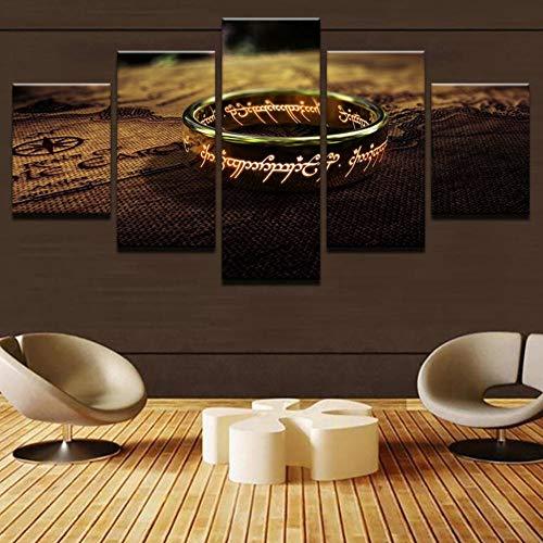 Leinwandbilder Wohnzimmer Wandkunst Rahmen 5 Stücke Herr Der Ringe Gemälde HD Drucke Ein Besonderer Ring Poster Wohnkultur 20x35 20x45 20x55 - Herr Gerahmte Poster Der Ringe