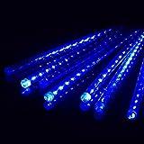 Ecloud Shop 50cm luces de lluvia de meteoros de luz LED luces de lluvia para Navidad árbol de la boda decoración de centro comercial un conjunto de 8 tubos (azul)