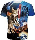 Imbry Herren bunt Galaxy 3D Druck Rundhals Casual Strassenmode Sport Spaß Motiv Tops T-Shirt (M, Space Cat)