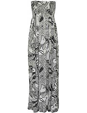 da donna elasticizzato le misure Plus stampa sostenitivo con tubo Sheering Maxi vestito 8 TO 22
