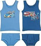 Kinderbutt Unterwäsche-Set 4-tlg. mit Druckmotiv Feuerwehr Single-Jersey blau/marine Größe 98 / 104