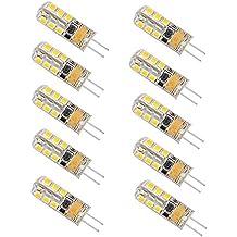 Minger 10Pcs G4 12V AC DC 2.5W 150LM Lampadina LED Luci, 24 LED SMD 3528 Risparmio Energetico Lampada sostituzione di - Bianco Caldo