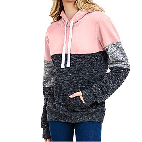 BURFLY Mode Damen Tops, Frauen Beiläufiges Tasche Hoodies Sweatshirt Feste Spleißen mit Kapuze Pullover Bluse Oberseiten -