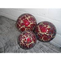 Tigre, colore: rosso/oro, con specchio a mosaico in vetro, con decorazione, 8 cm-GM63S-confezione da 1 pezzo - 8 Glass Mirror Ball