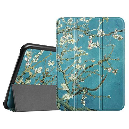 Fintie Hülle für Samsung Galaxy Tab 4 10.1 SM-T530 SM-T535 - Ultra Schlank Superleicht Ständer SlimShell Cover Schutzhülle Etui Tasche mit Auto Schlaf/Wach Funktion, Mandelblüten (Tab 4-tablet-cover)