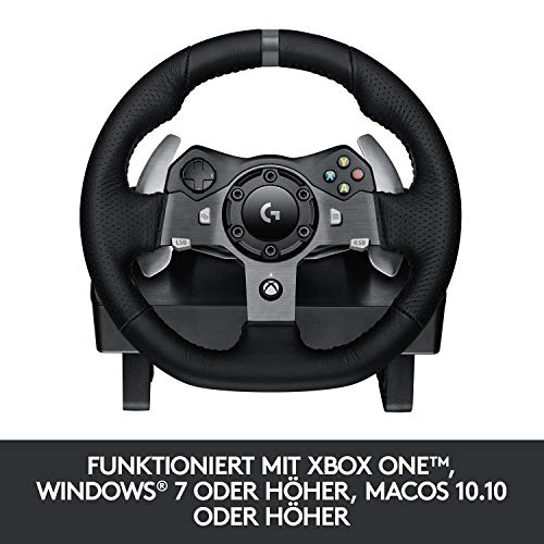 Bild 6: Logitech G920 Driving Force Gaming Rennlenkrad, Zweimotorig Force Feedback, 900° Lenkbereich, Leder-Lenkrad, Verstellbare Edelstahl Bodenpedale, Xbox One/PC/Mac, schwarz